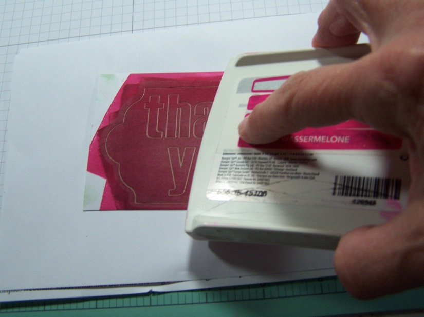 Swipe Stampin' Ink Pad across the whole label...I cut them all out individually