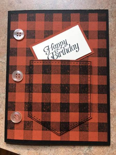 A buffalo plaid card from Marcy Dorsch